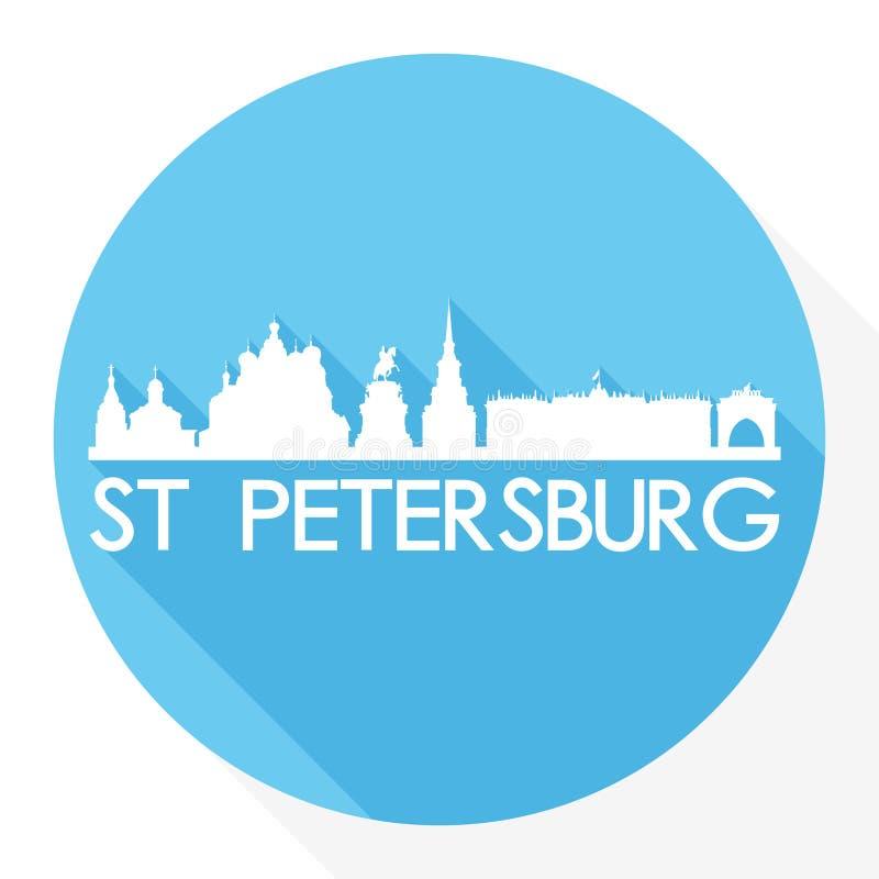 Logotipo redondo do molde da silhueta da cidade de Art Flat Shadow Design Skyline do vetor do ícone de St Petersburg Rússia Europ ilustração royalty free