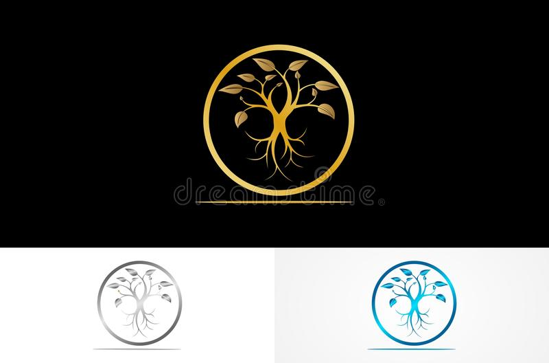Logotipo redondo do ouro da árvore ilustração royalty free