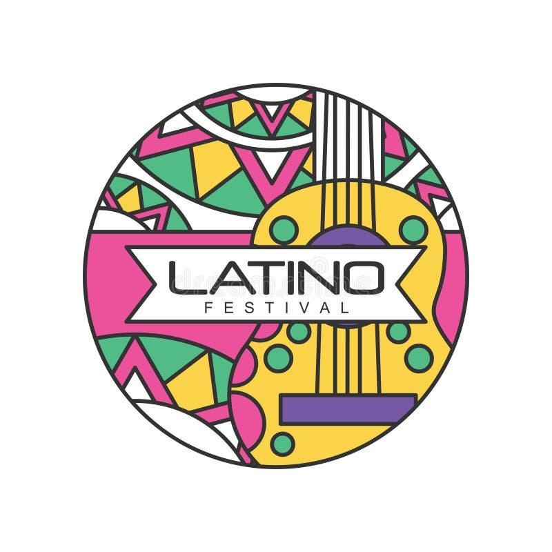 Logotipo redondo-formado creativo para el festival del Latino Celebración de la gente de la música Emblema abstracto con la guita ilustración del vector