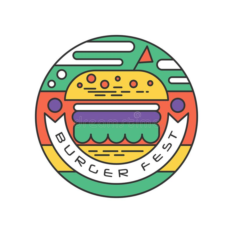 Logotipo redondo-formado creativo para la línea arte del fest de la hamburguesa con el terraplén colorido Concepto de la calle y  ilustración del vector
