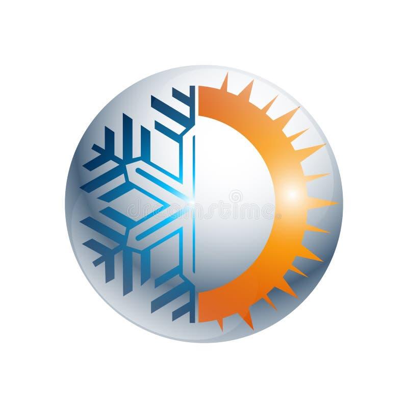Logotipo redondo quente e frio da engrenagem do sinal Ícone do equilíbrio da temperatura Sun ilustração stock