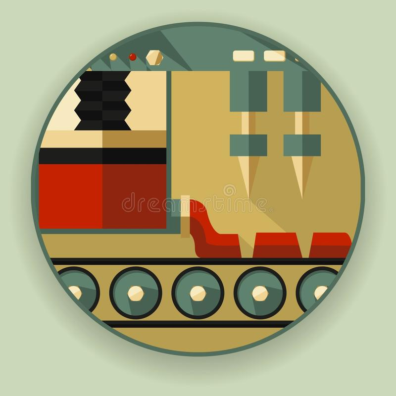 Logotipo redondo, um ícone, um símbolo sob a forma do proce da extrusão ilustração stock