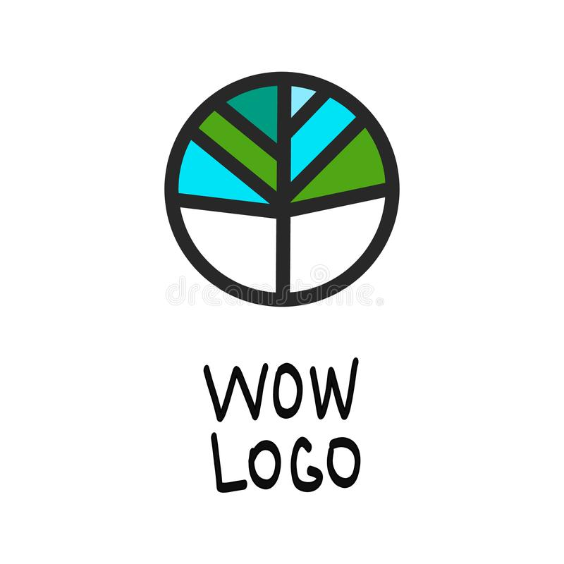 Logotipo redondo verde e azul ilustração royalty free