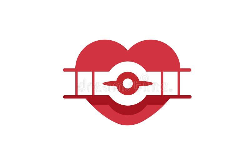 Logotipo retro creativo del símbolo del corazón de los aviones libre illustration