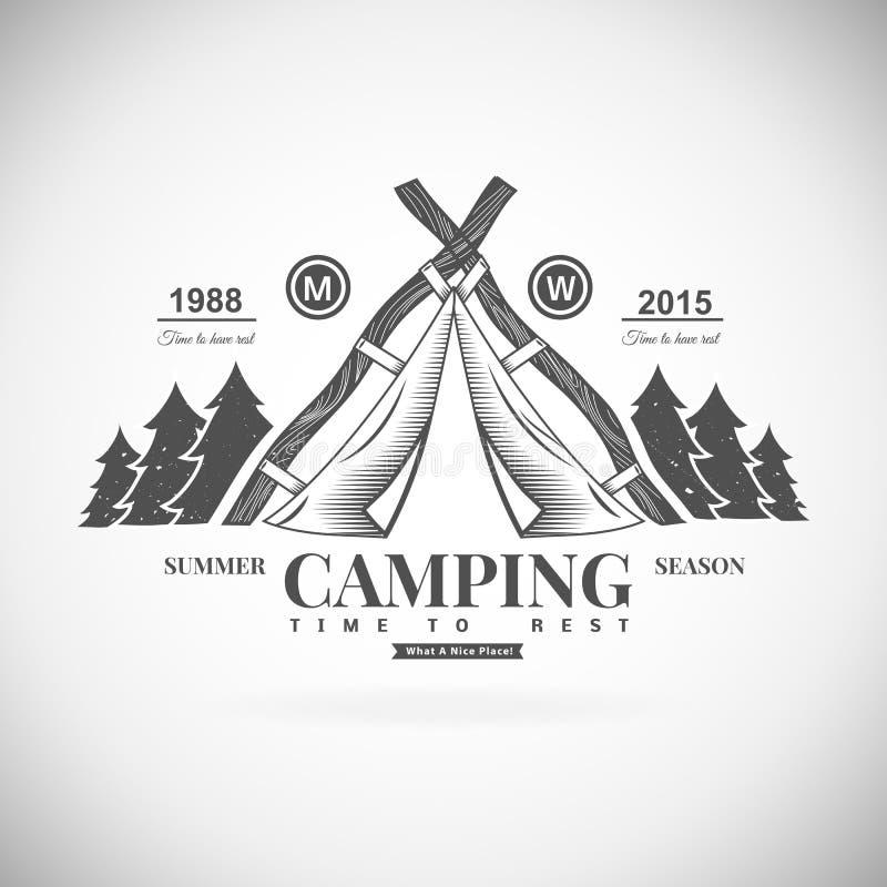 Logotipo retro de acampamento do vetor ilustração stock