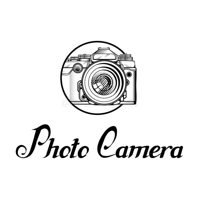 Logotipo retro de la cámara Photocamera del vintage ilustración del vector