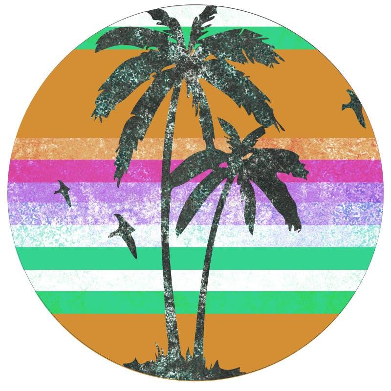 Logotipo retro de Palm Beach ilustração stock