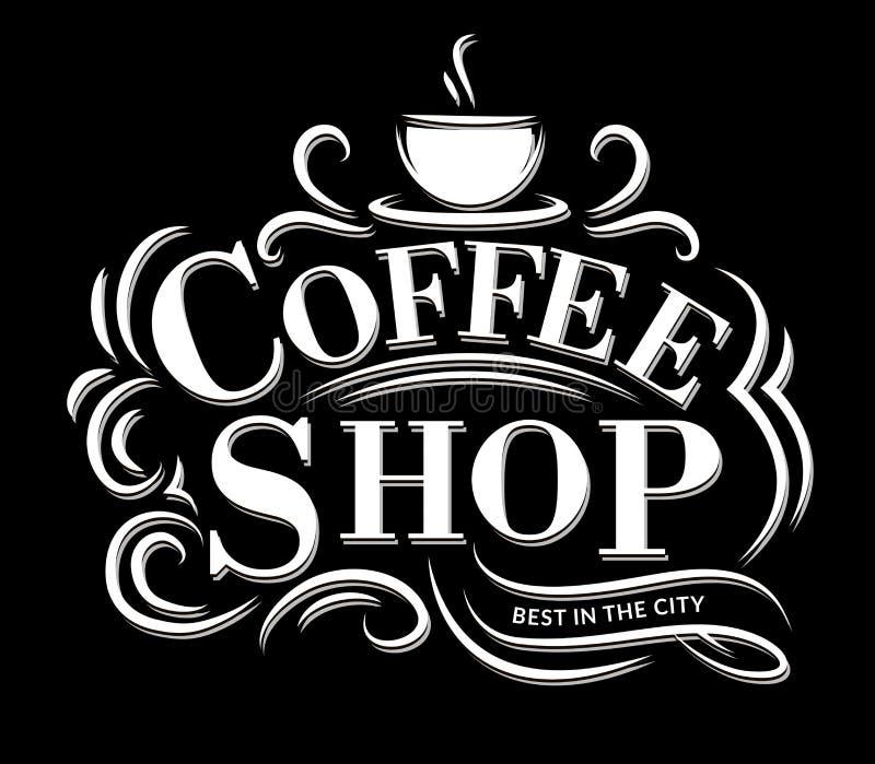 Logotipo retro del café del vintage con los ornamentos de las letras y del flourish libre illustration