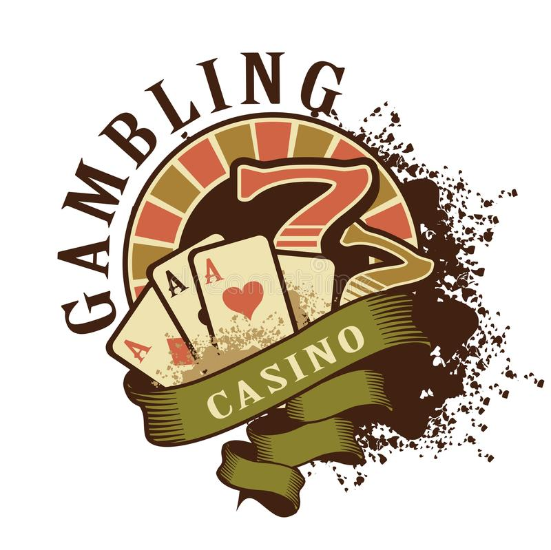 Logotipo retro del casino en un fondo blanco libre illustration