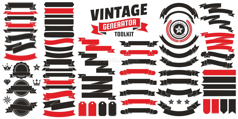Logotipo retro del vector del vintage para la bandera stock de ilustración