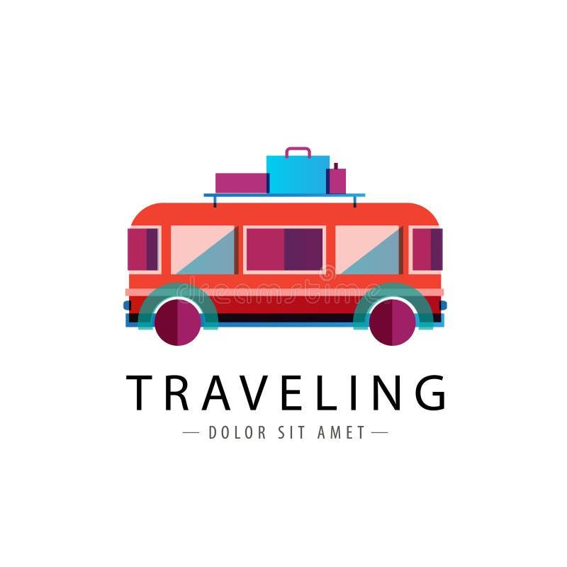 Logotipo retro do ônibus do vetor, ícone de viagem ilustração stock