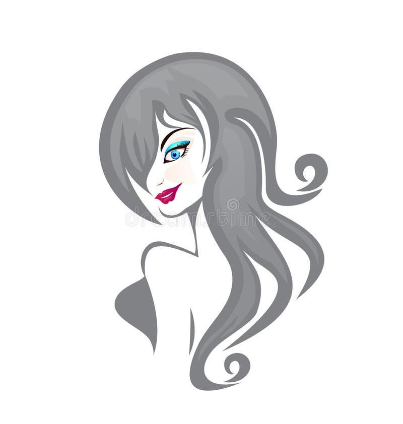 Logotipo rizado hermoso de la mujer ilustración del vector