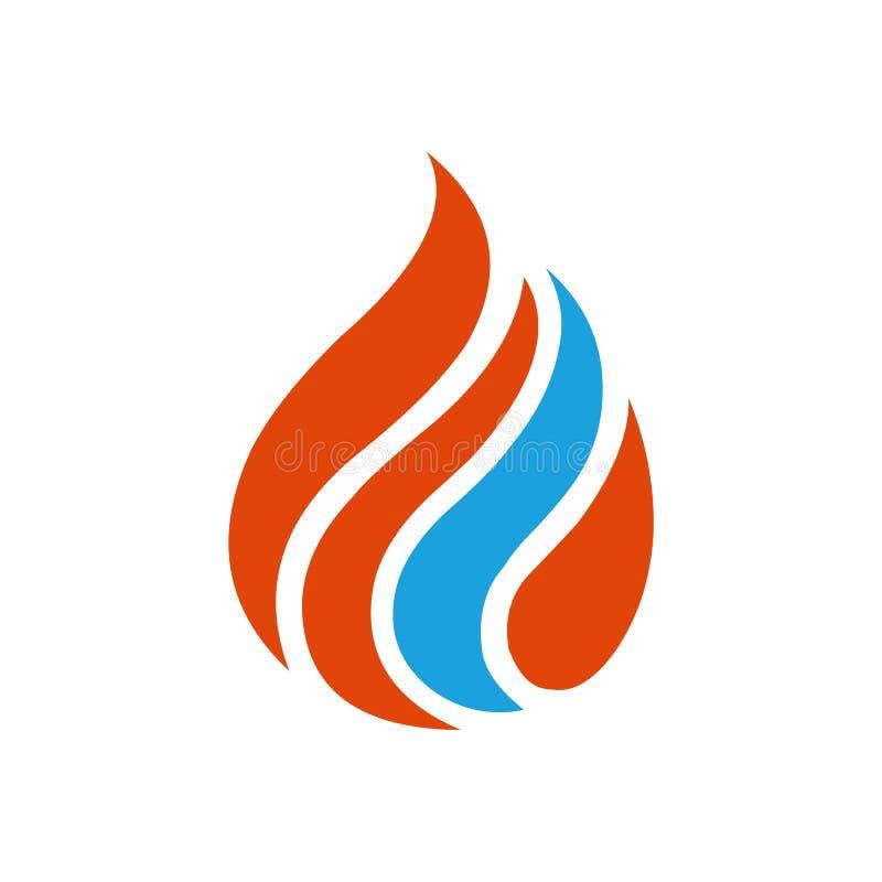 Logotipo rojo azul de la llama stock de ilustración