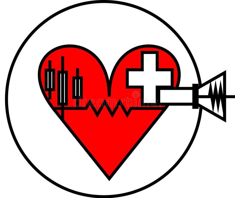 logotipo rojo de la atención sanitaria del corazón del último estilista ilustración del vector