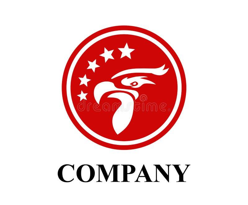 Logotipo rojo de la cabeza del águila ilustración del vector