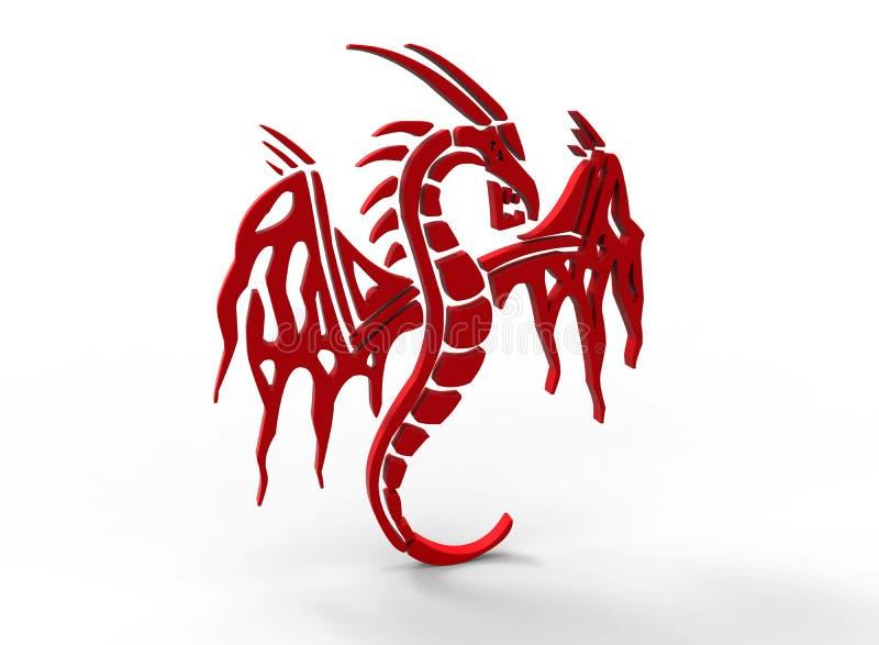 Logotipo rojo del dragón stock de ilustración