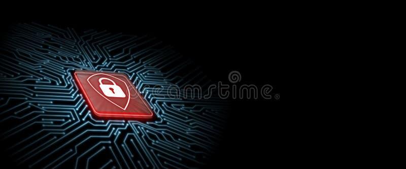 Logotipo rojo del escudo en el microchip con el fondo de la placa de circuito del resplandor Concepto de seguridad del negocio foto de archivo