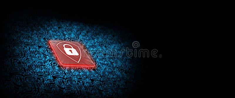 Logotipo rojo del escudo en el microchip con el fondo de la placa de circuito del resplandor Concepto de seguridad del negocio ilustración del vector