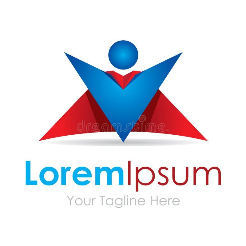 Logotipo rojo del negocio de los iconos del elemento del anfitrión de la demostración del hombre estupendo ilustración del vector