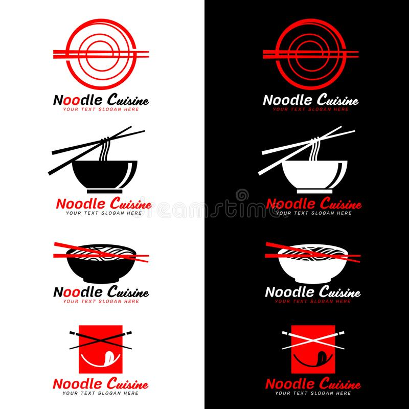 Logotipo rojo y negro de la cocina de los tallarines con diseño de los palillos y del vector de la sopa de fideos stock de ilustración