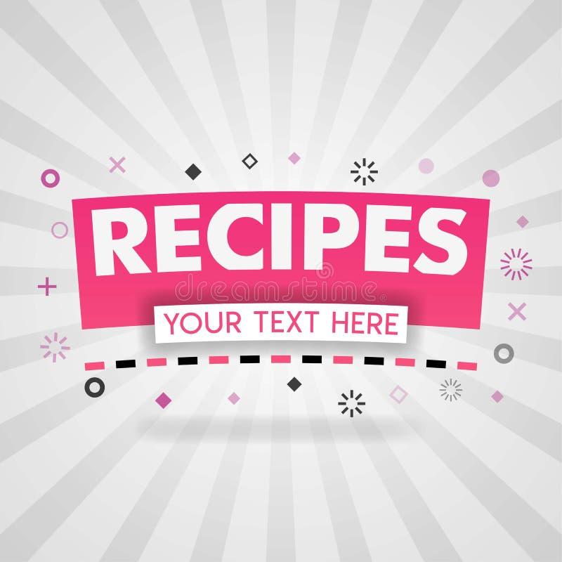 Logotipo rosado de las recetas de la comida sabrosa para la cubierta de la web libre illustration