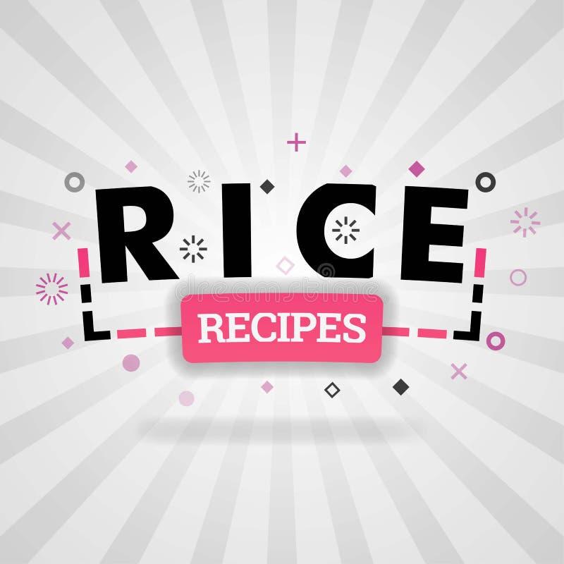 Logotipo rosado para las recetas del arroz para las páginas web de la receta, el blog de la comida, hoy recetas, compra comida ap ilustración del vector