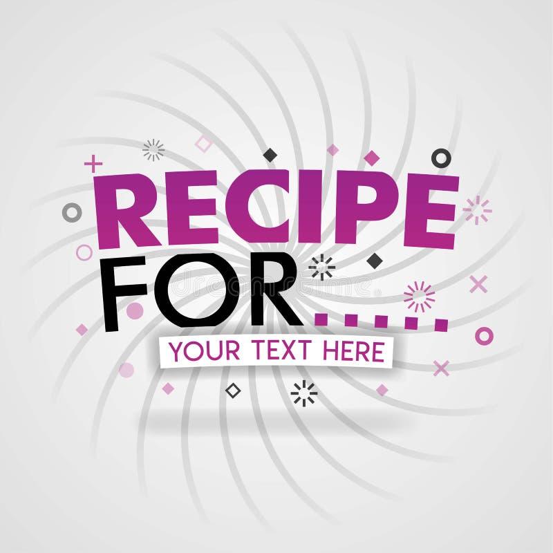 Logotipo rosado para las recetas para para las páginas web de la receta, el blog de la comida, hoy recetas, compra comida app móv ilustración del vector