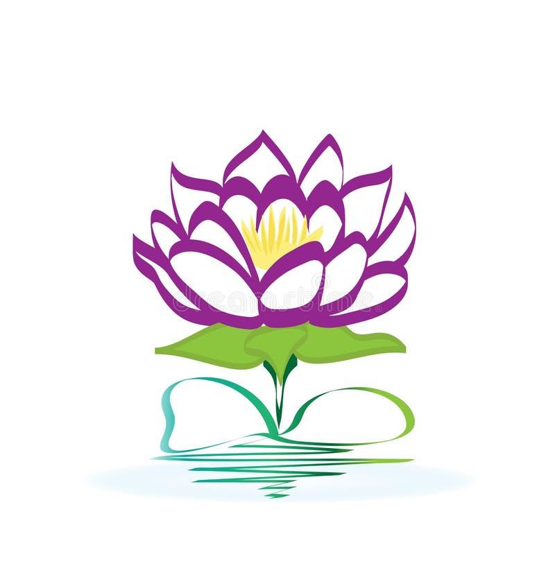 Logotipo roxo da flor de lótus ilustração stock