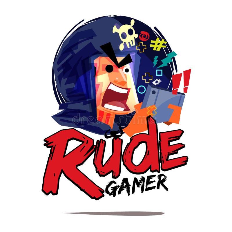 Logotipo rude do gamer conceito louco do gamer - vetor ilustração do vetor