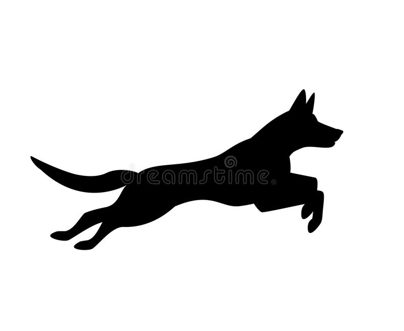 Logotipo running de salto da silhueta do cão belga dos malinois ilustração royalty free