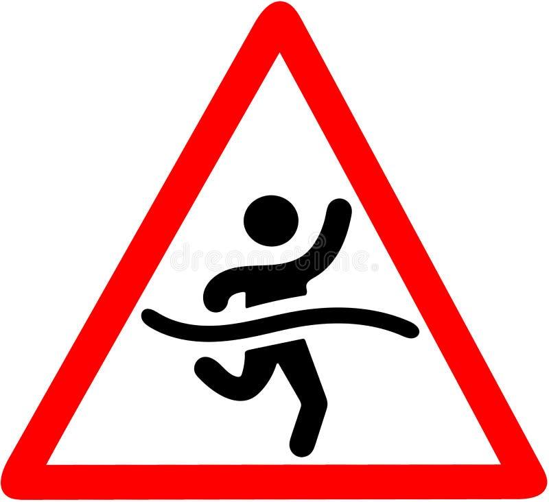 Logotipo running do homem da raça no sinal de advertência triangular do mapa de estradas do cuidado isolado no fundo branco ilustração royalty free