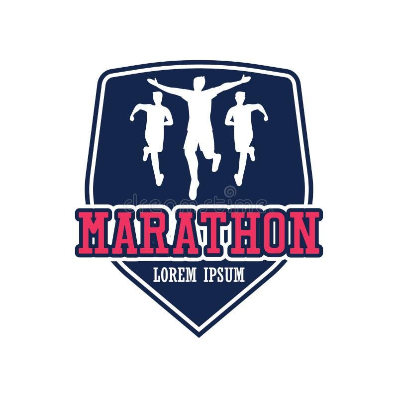 Logotipo running dos povos/maratona, do esporte e da atividade da raça ilustração royalty free