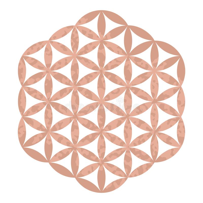 Logotipo sagrado del estudio de la yoga del diseño de la geometría de la hoja de oro de Rose, tatuaje metálico, flor adornada dec ilustración del vector