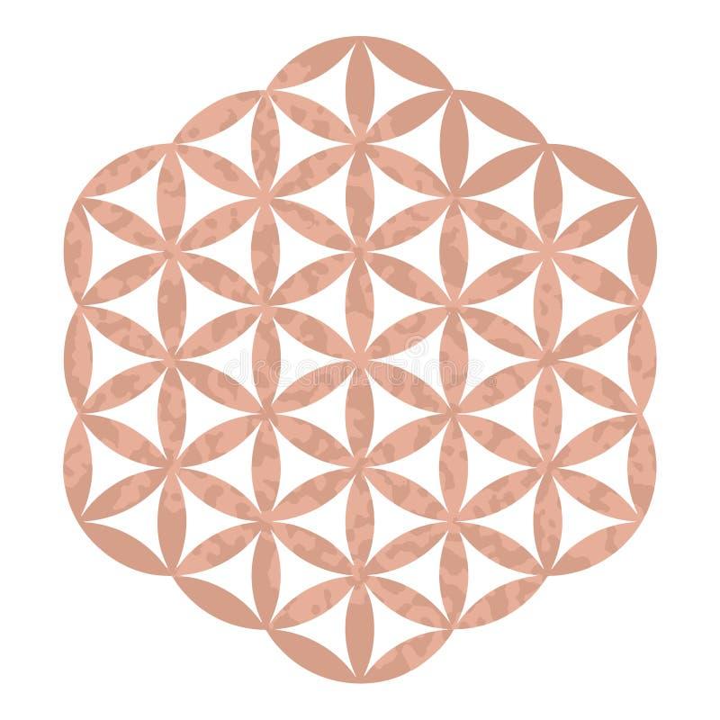 Logotipo sagrado do estúdio da ioga do projeto da geometria da folha de ouro de Rosa, tatuagem metálica, flor ornamentado decorat ilustração do vetor