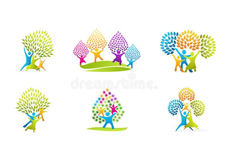 Logotipo sano de la familia, diseño natural del vector del concepto del cuidado del parenting libre illustration