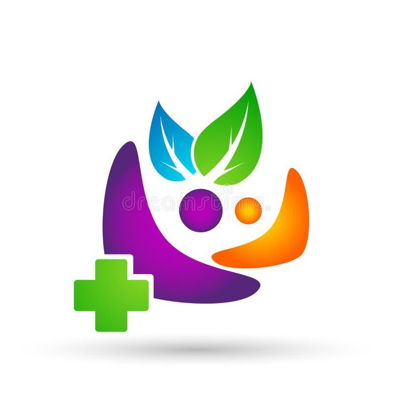 Logotipo sano de la gente, símbolo activo de la vida y diseño de centro del icono del vector de la salud natural en el fondo blan stock de ilustración