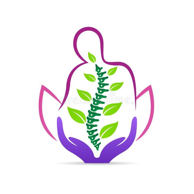 Logotipo sano de la gestión del cuidado de la espina dorsal ilustración del vector