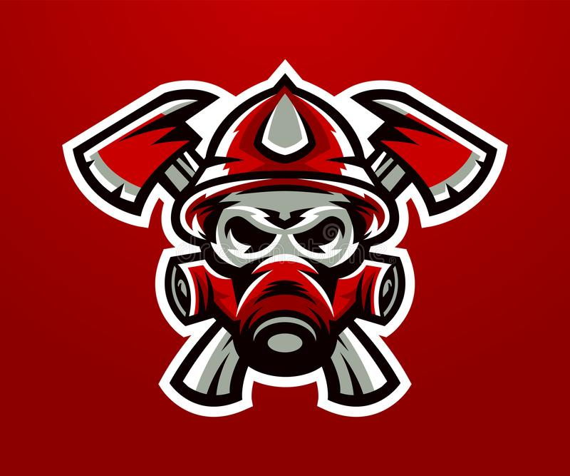 Logotipo, sapador-bombeiro da mascote Tarefa letal, uma profissão perigosa, crânio, esqueleto, machados na cruz, máscara, pelotão ilustração stock
