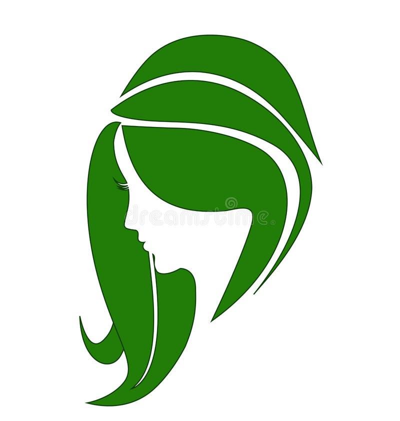 Logotipo saudável do cabelo da mulher ilustração royalty free