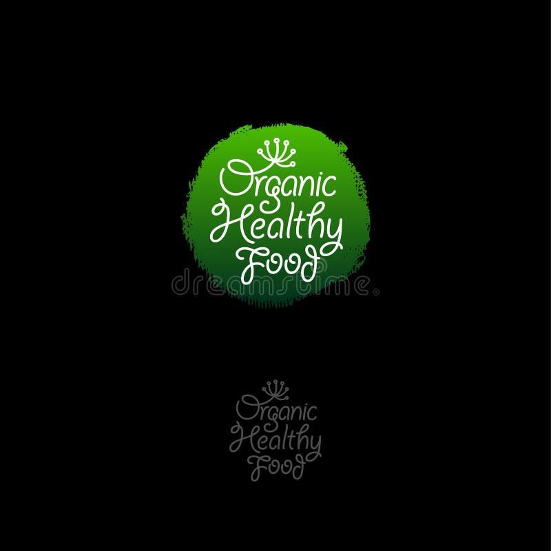 Logotipo saudável orgânico Emblema dos alimentos orgânicos Ícone verde redondo com letras e teste padrão dos feijões de café ilustração royalty free