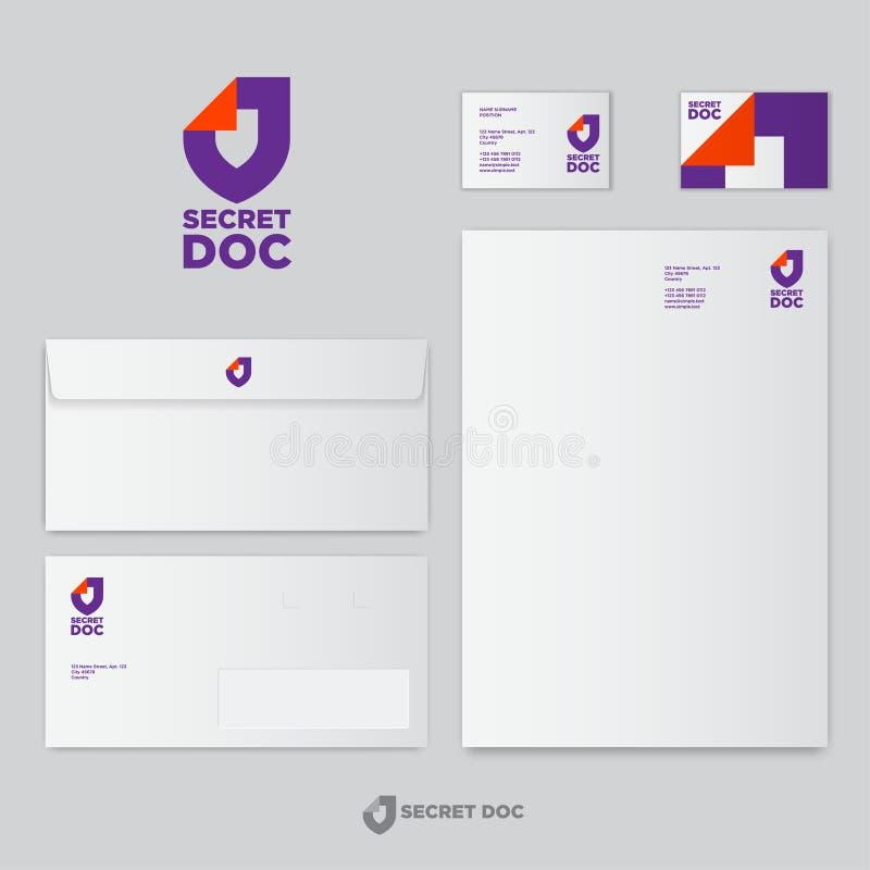 Logotipo secreto do Doc Protetor com canto dobrado como o documento de papel identidade Moldes dos papéis de negócio ilustração royalty free