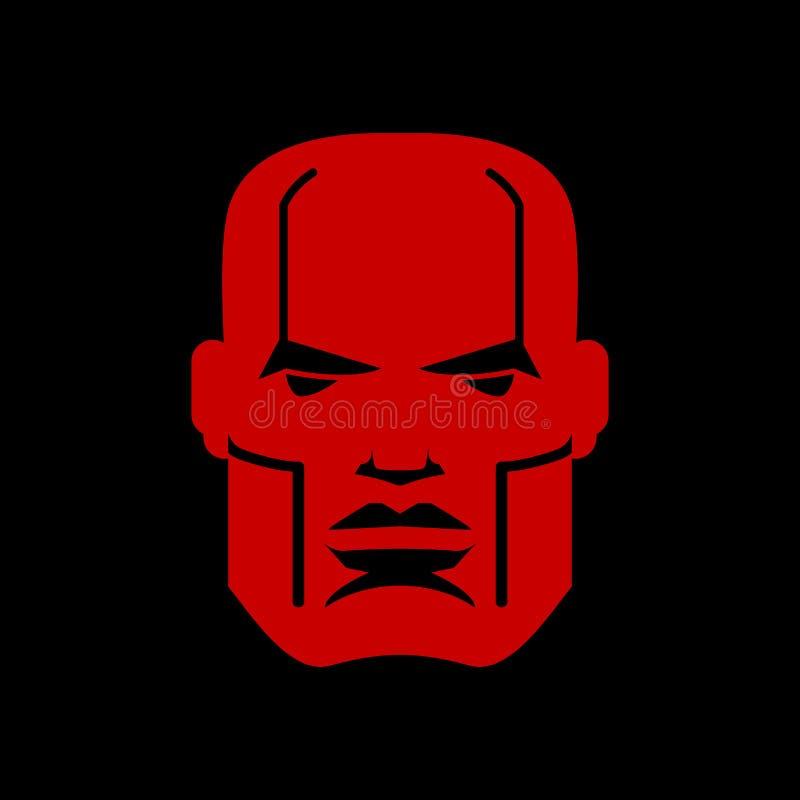 Logotipo serio de la cara Emblema principal del hombre Máscara de hombres roja ilustración del vector
