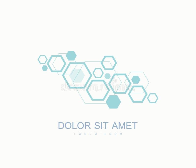 Logotipo sextavado da genética da ciência, hélice do ADN Análise genética, ADN do código de Biotech da pesquisa Cromossoma do gen ilustração stock