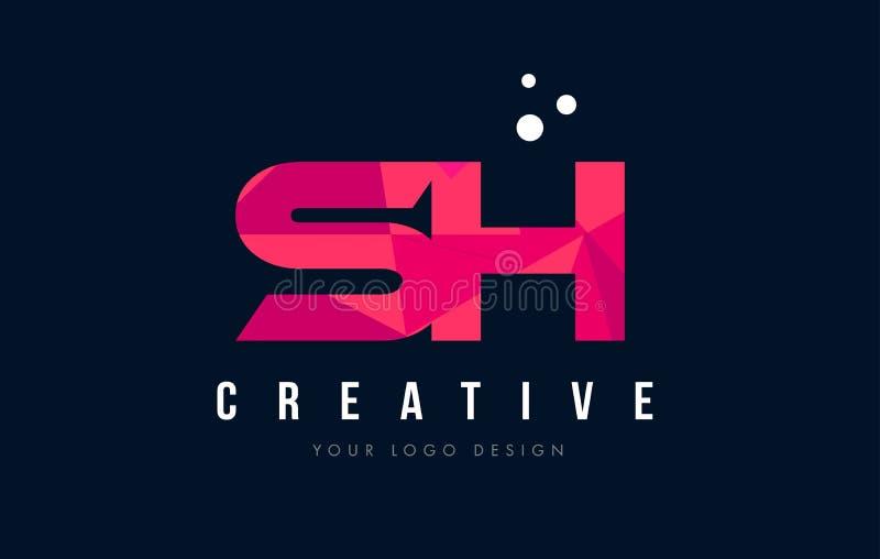 Logotipo SH de la letra de S H con concepto rosado polivinílico bajo púrpura de los triángulos libre illustration