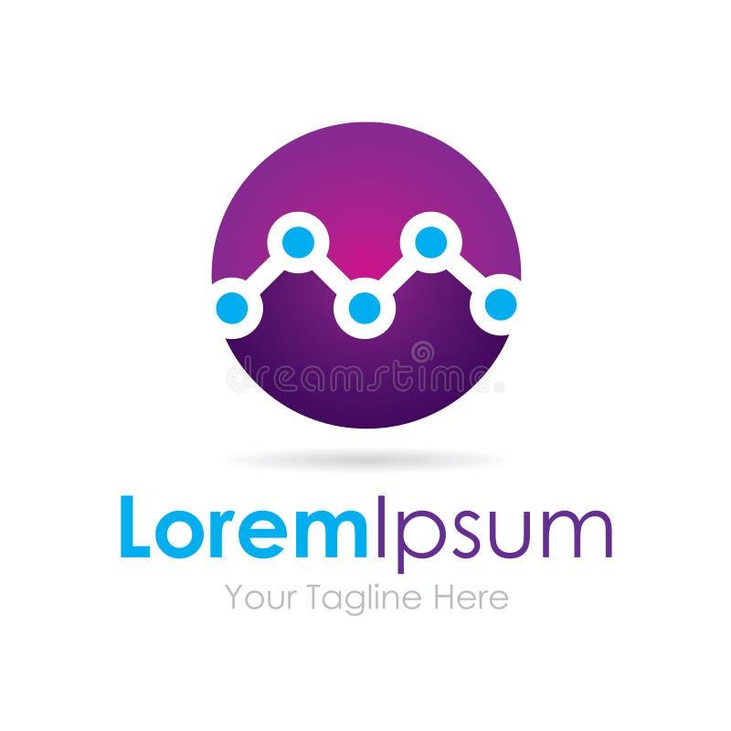 Logotipo simple de conexión del icono del negocio del círculo púrpura de los puntos de la tecnología stock de ilustración