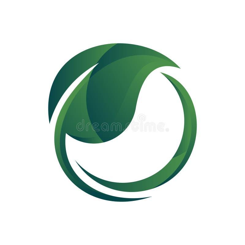 Logotipo simple de la naturaleza de la hoja del ambiente verde fresco de la ecología ilustración del vector