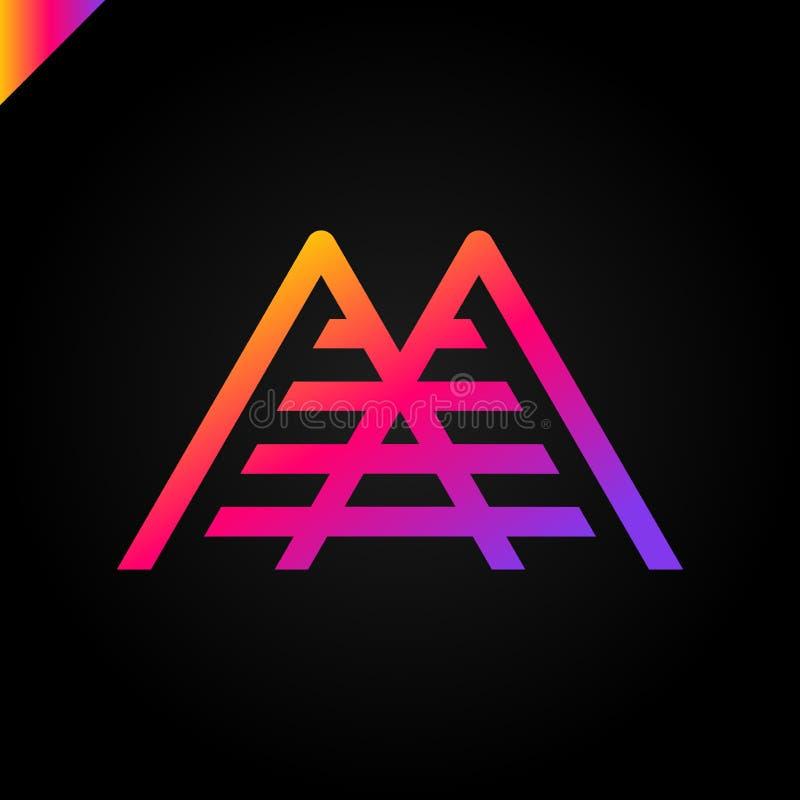 Logotipo simple del vector en un estilo moderno Top de la montaña bajo la forma de letra M ilustración del vector