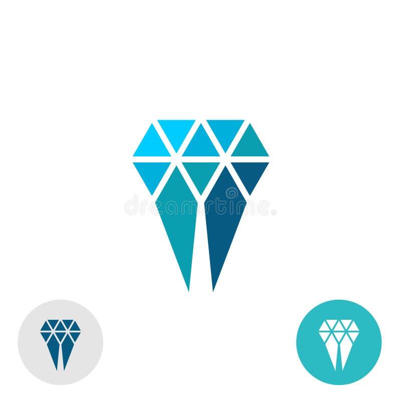 Logotipo simple molar del diamante Muestra del estilo de las partículas del triángulo stock de ilustración