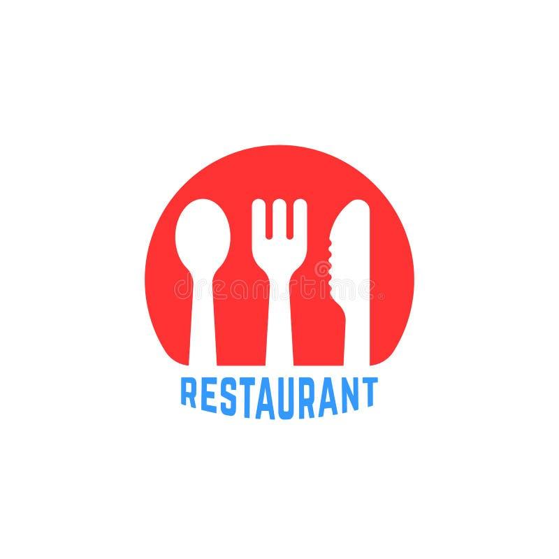 Logotipo simple redondo rojo del restaurante stock de ilustración
