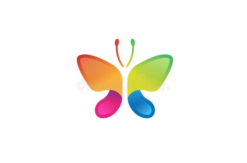 Logotipo simples abstrato colorido criativo da borboleta ilustração stock